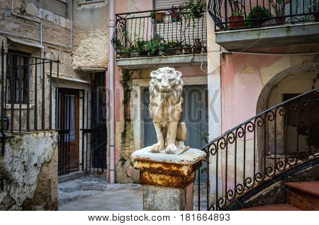 Lion statue on courtyard on the old part of Syracuse - Ortygia isle Sicily Italy