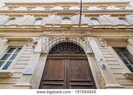 Building of Ancient Drama Institute on the old part of Syracuse - Ortygia isle Sicily Italy