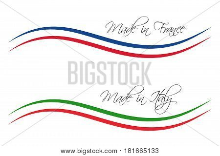 Vector logos Made in France and Made in Italy isolated on white background for your products infographic web and apps