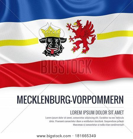 Flag of German state Mecklenburg-Vorpommern waving on an isolated white background. State name and the text area for your message.