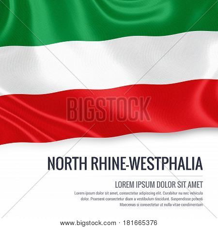 Flag of German state North Rhine-Westphalia waving on an isolated white background. State name and the text area for your message.
