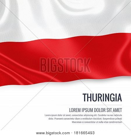 Flag of German state Thuringia waving on an isolated white background. State name and the text area for your message.