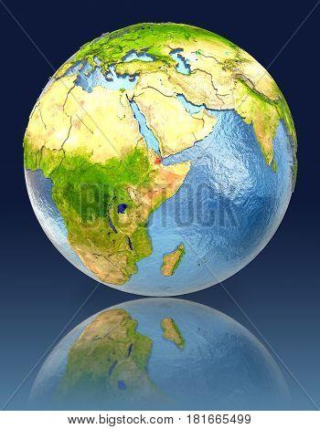 Djibouti On Globe With Reflection