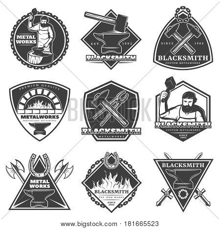 Monochrome vintage blacksmith labels set with workman weapons fire tools and equipment isolated vector illustration