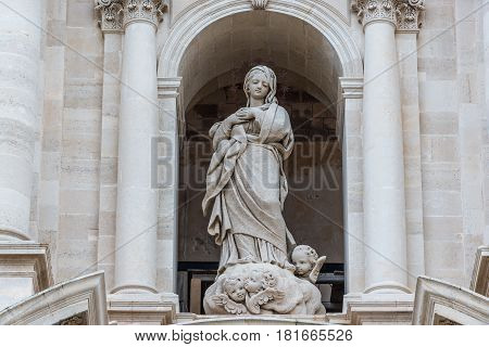 Our Lady sculpture on Syracuse Cathedral Ortygia isle Sicily Island in Italy
