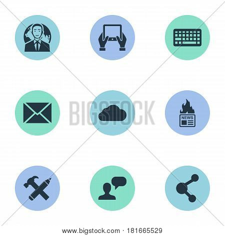 Vector Illustration Set Of Simple Blogging Icons. Elements Repair, Notepad, Keypad And Other Synonyms News, International And Gazette.