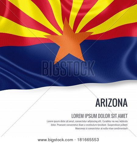Flag of U.S. state Arizona waving on an isolated white background. State name and the text area for your message.