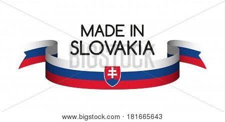 Colored ribbon with the Slovak tricolor Made in Slovakia symbol Slovak flag isolated on white background vector illustration