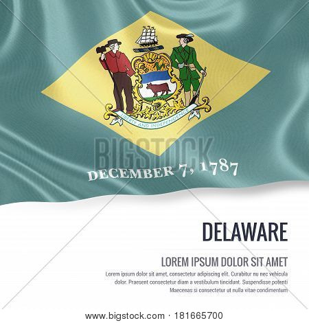 Flag of U.S. state Delaware waving on an isolated white background. State name and the text area for your message.