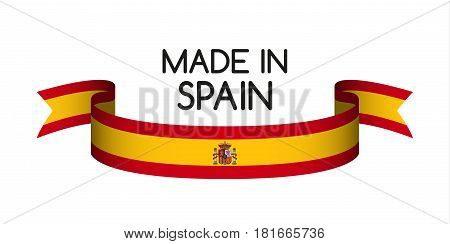 Colored ribbon with the Spanish colors Made in Spain symbol Spanish flag isolated on white background vector illustration