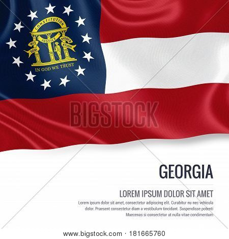 Flag of U.S. state Georgia waving on an isolated white background. State name and the text area for your message.