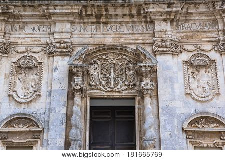 Details of Abbey Church of Saint Lucy at Cathedral Square on Ortygia isle Syracuse city Sicily Island in Italy