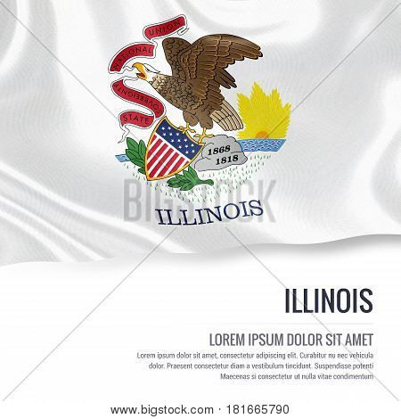 Flag of U.S. state Illinois waving on an isolated white background. State name and the text area for your message.