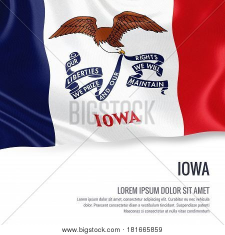 Flag of U.S. state Iowa waving on an isolated white background. State name and the text area for your message.