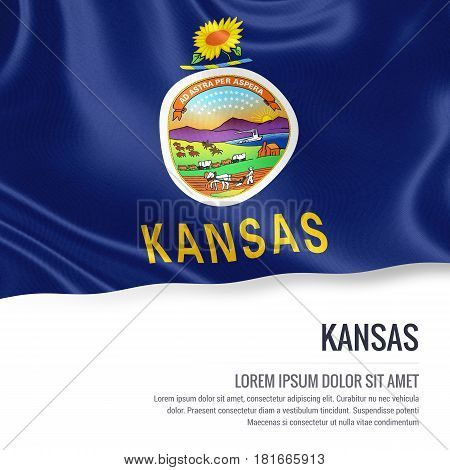 Flag of U.S. state Kansas waving on an isolated white background. State name and the text area for your message.