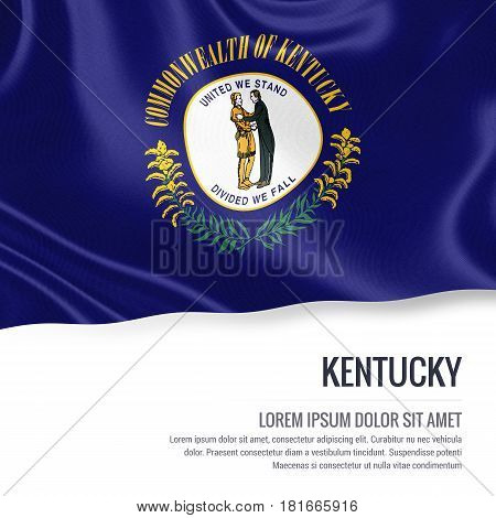 Flag of U.S. state Kentucky waving on an isolated white background. State name and the text area for your message.