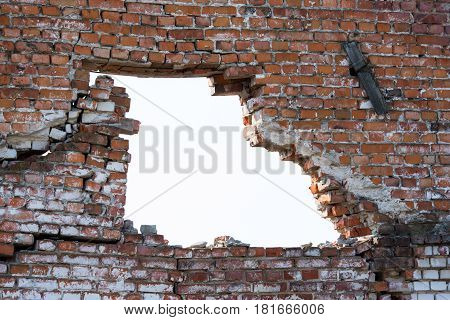 Hole brick wall, Old broken brick wall