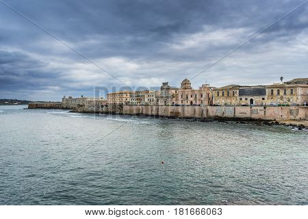 Aerial view of Ortygia isle on Ionian Sea Syracuse city Sicily Island in Italy
