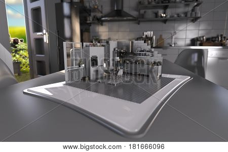 Augmented Reality Tablet Sunny Kitchen 3D Render