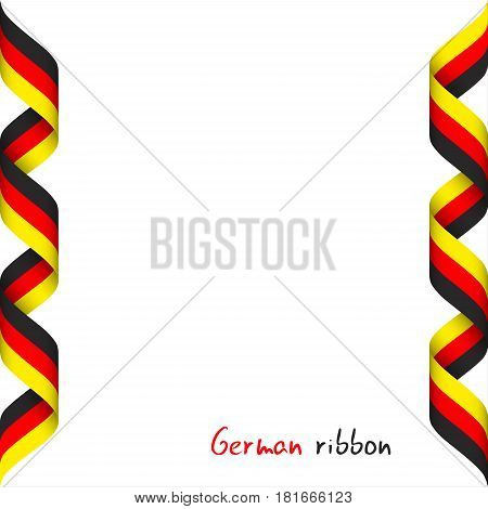 Colored ribbon with the German tricolor symbol of the German flag isolated on white background sign Made in Germany