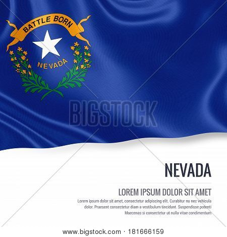 Flag of U.S. state Nevada waving on an isolated white background. State name and the text area for your message.