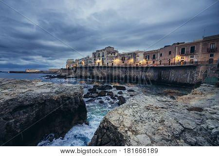 Houses on the old part of Syracuse - Ortygia isle Sicily Italy