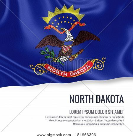 Flag of U.S. state North Dakota waving on an isolated white background. State name and the text area for your message.