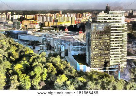 Cityscape colorful painting of modern city Bratislava Slovakia