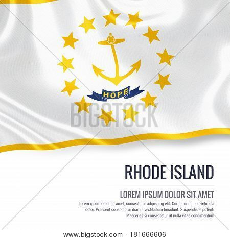 Flag of U.S. state Rhode Island waving on an isolated white background. State name and the text area for your message.