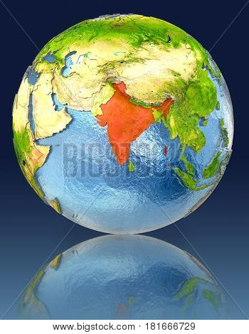 India On Globe With Reflection