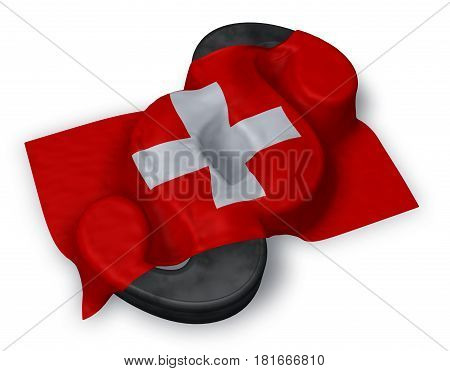 paragraph symbol and flag of switzerland - 3d rendering