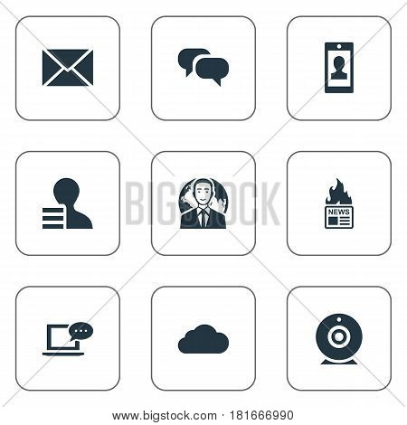 Vector Illustration Set Of Simple User Icons. Elements Gain, International Businessman, Laptop And Other Synonyms Overcast, Web And Post.