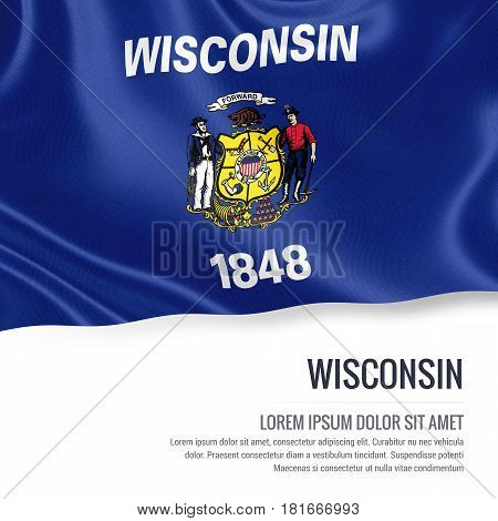 Flag of U.S. state Wisconsin waving on an isolated white background. State name and the text area for your message.