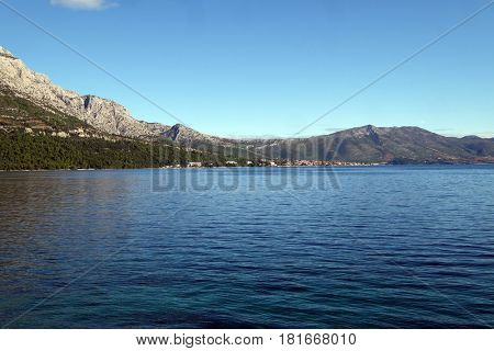 KORCULA, CROATIA - NOVEMBER 09: Island an city of Korcula in Croatia, landscape with the Adriatic sea in Croatia on November 09, 2016.