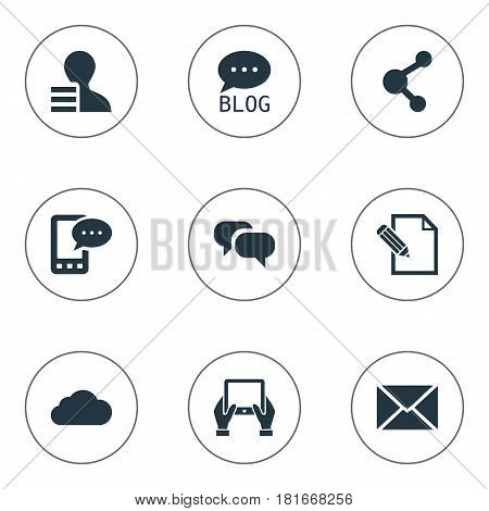 Vector Illustration Set Of Simple Newspaper Icons. Elements Gain, Post, Overcast And Other Synonyms Notepad, Post And Writing.