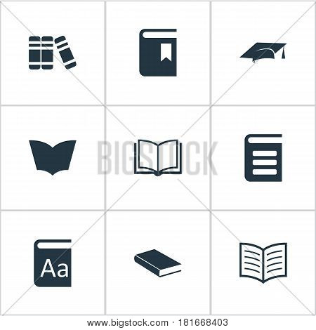 Vector Illustration Set Of Simple Education Icons. Elements Book Cover, Book Page, Reading And Other Synonyms Reading, Library And Notebook.