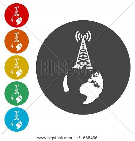 Transmitter tower icon, radio tower broadcast icon