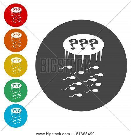 Sperm sign icon. Fertilization or insemination symbol