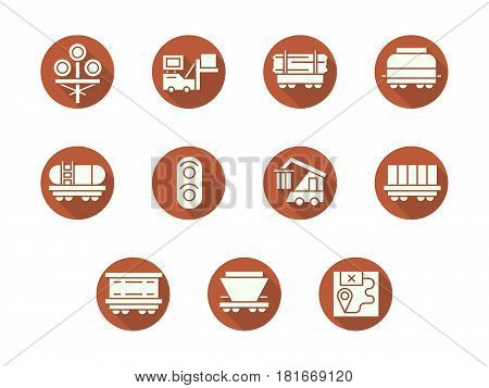 Abstract white silhouette symbols of railcars and wagons, traffic elements with long shadow. Rail road transportation industry. Set of flat color round vector icons.
