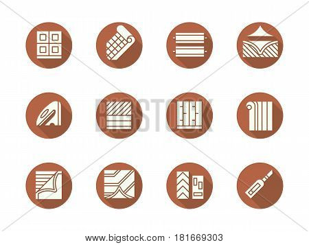 Abstract white silhouette symbols of flooring services, long shadow design. Elements of linoleum installation. Home renovation concept. Set of flat color round vector icons.