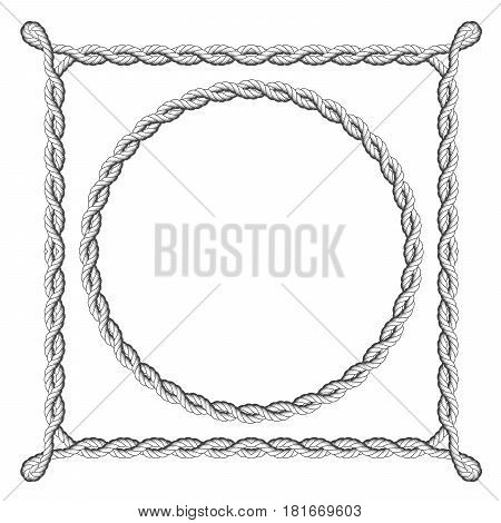 Twisted rope frames - round and square marine borders