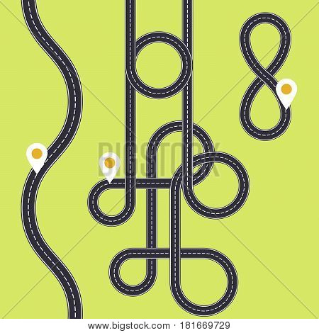 Road interweaving of loops - highway interchange with knots