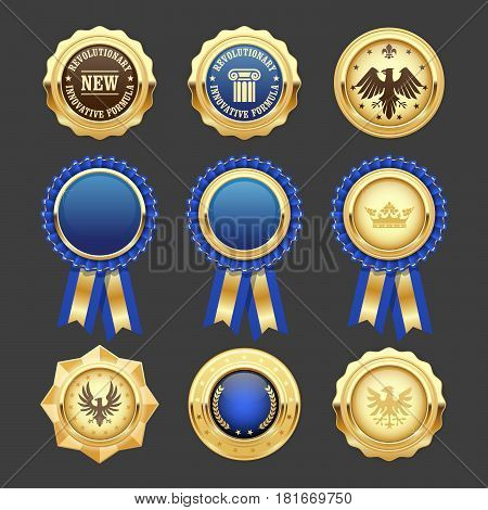Blue award rosettes insignia and heraldic medals