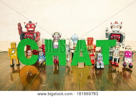 the word Chat with vintage robot toys