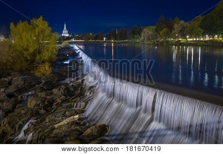 Idaho Falls at the blue hour time