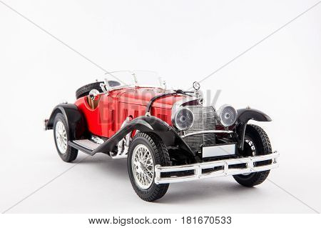Mercedes Benz 1900s red classic car isolated in white background