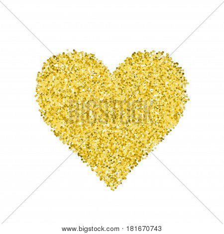 Glitter golden heart. Cute symbol of Valentines Day. Romantic concept. Love sign. Vector illustration for cards, posters, banners, wedding design invitations. Isolated on white background.