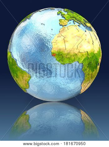 Guinea-bissau On Globe With Reflection