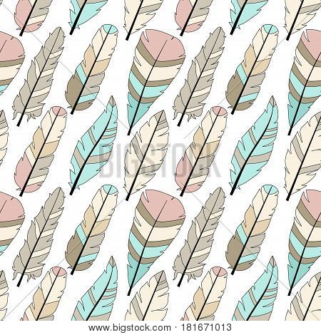 Seamless vector pattern with colored feathers. Hand drawn illustration. Bohemian style feathers for printswrapping fabric and other seamless design. Seamless texture of graphic feather.