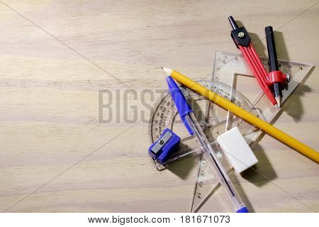 Geometry Math Set on a Wooden Background